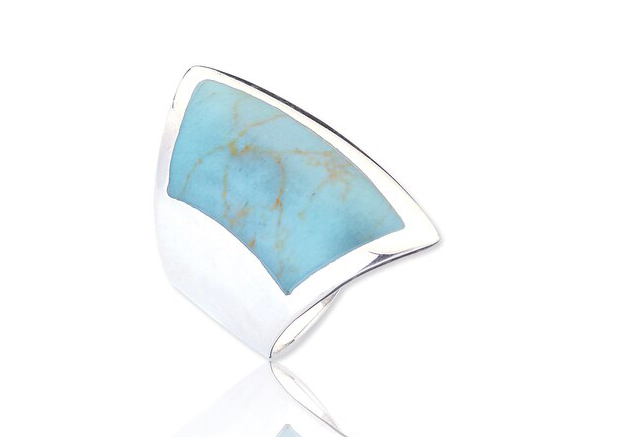 Silver turquoise ring, jewellery great missenden