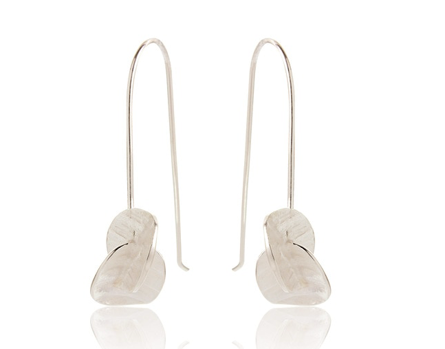Silver hammered drop earrings