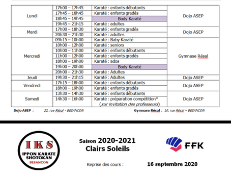 HORAIRES 2020-2021