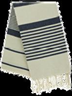 Fouta (Flat Weave) - Bicolor (Ecru/Navy Blue) - Arthur Model