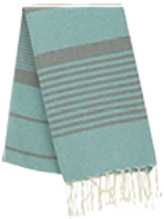 Fouta (Flat Weave) - Bicolor (Water Green/Gray) - Arthur Model