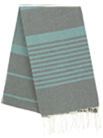 Fouta (Flat Weave) - Bicolor (Gray/Water Green) - Arthur Model
