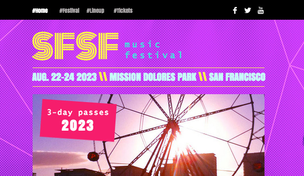 Eventer website templates – Musikkfestival
