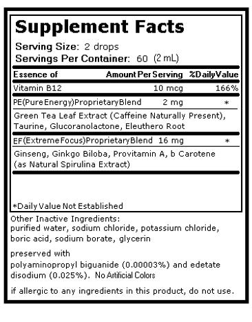 Serving Size - 2 drops for Energy Supplement like Redbull or Monster Energy