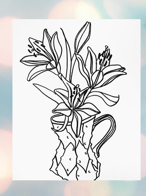 Floral Sharpie Cards (Set of 8)