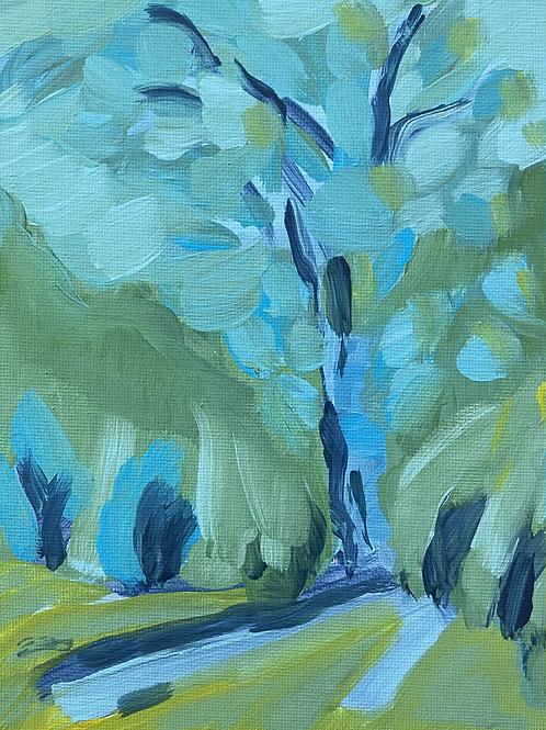 Riverside Park 5x7 Acrylic Painting on Canvas Panel