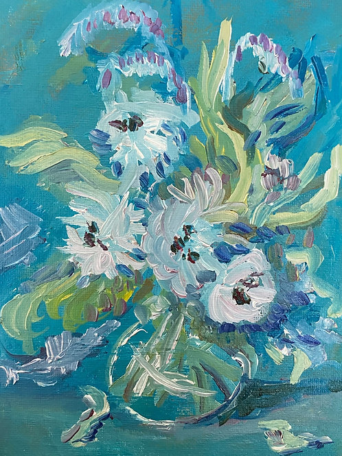 Springtime Florals, 8x10in. Original Oil Painting on wood panel