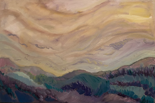 Wild Landscape III Oil Painting on Framed Stretched Canvas 2 x 3 feet