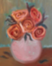 """""""Round Pink Vase with Roses"""" oil on canv"""