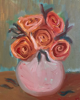 Round Pink Vase with Roses