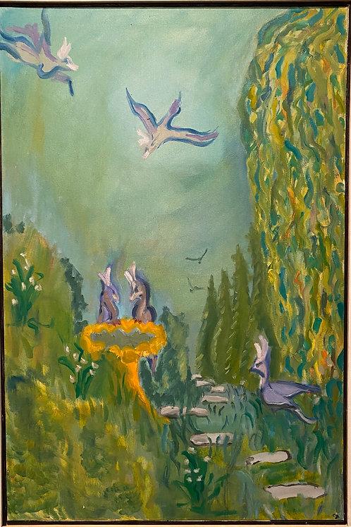 Birds' Paradise - 2x3 ft. Original Oil Painting on Canvas, Framed