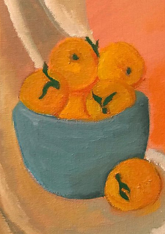 Oranges in Teal Bowl