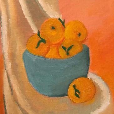 Oranges in Teal Bowl