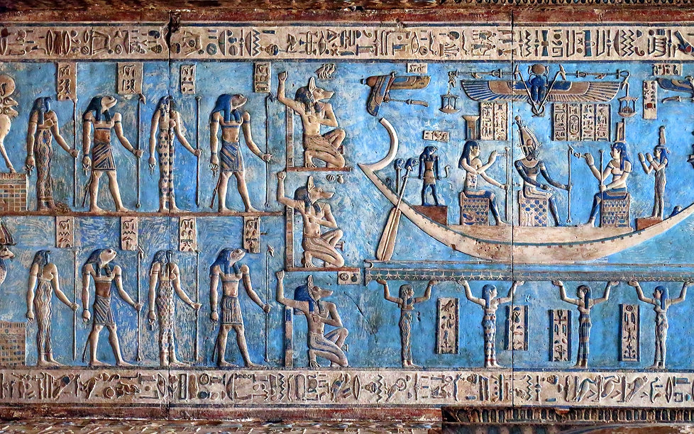 Hieroglyphic carvings and paintings on t
