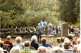 Dedication ceremony for granite monument at site of New England Hebrew Farmers of the Emanuel synagogue remains in Chesterfield, Connecticut, in 1986