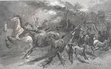 Bushranger attack, Picturesque Atlas of Australia 1880