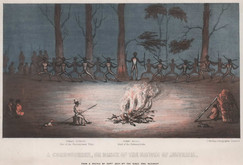 """""""A Corroboree or dance of the Natives of Australia"""" by Charles Staniforth- Hext circa 1840"""