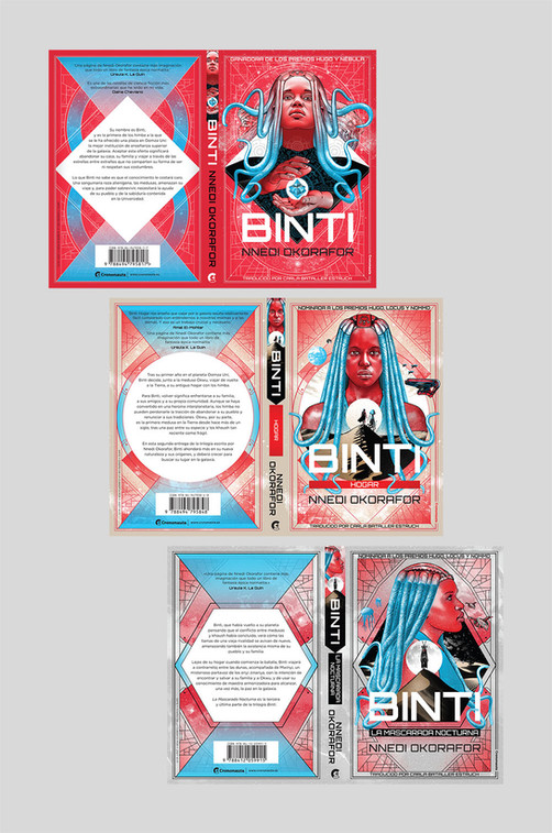 Full cover artwork for the three Binti books