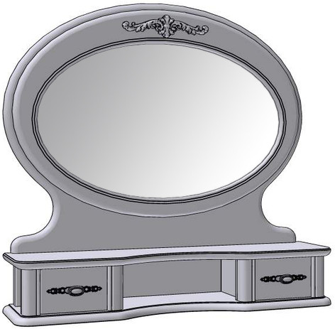 2 Drawer Oval Mirror