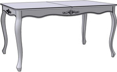 Folding Dinning Table (figured sidebars with woodcarvings)