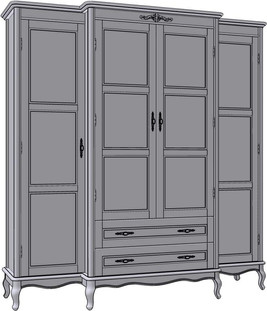 4 Door 2 Drawer Wardrobe