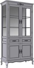 4 Door 2 Drawer Cupboard (glass sides)