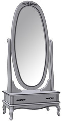 1 Drawer Oval Rotating Mirror
