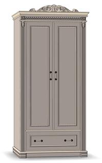 2 Door 1 Drawer Wardrobe - К57 / T (shelves and tube / tube)