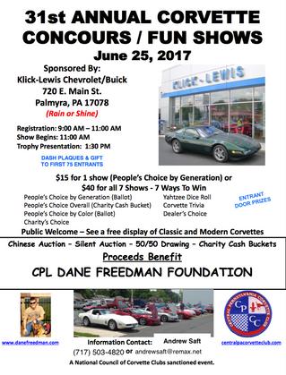 31st Annual Corvette Show benefitting Dane's Dogs for Vets