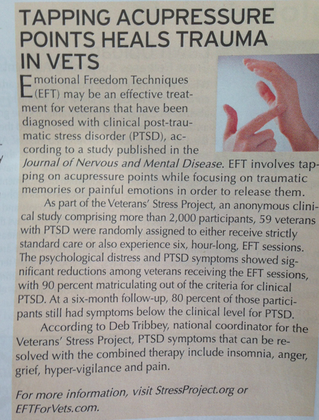 """""""Tapping Acupressure Points Heals Trauma in Vets"""" article in Harrisburg's June 2014 issue of Natural"""