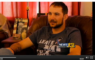 """""""Veteran Says Service Dog Saved Him From Himself"""" article"""