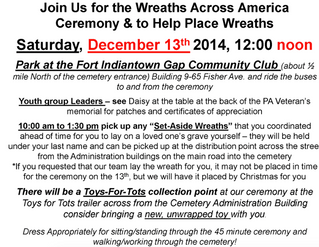 Wreaths Across America at Indiantown Gap National Cemetery tomorrow 12/13 12pm