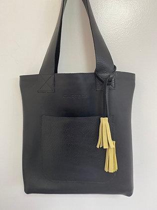 Large Shoulder bag, Black with zipper