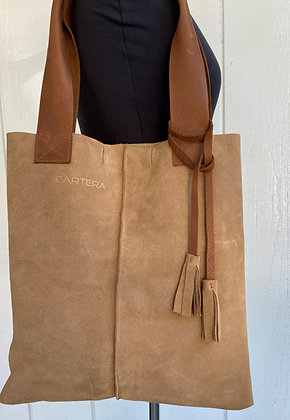 Tote, Beige suede with tan leather straps