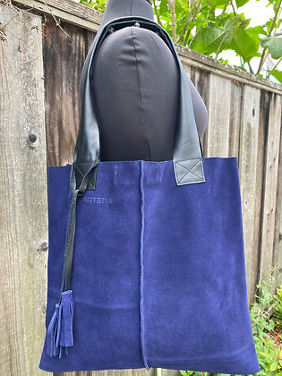 Tote, Blue suede with leather straps