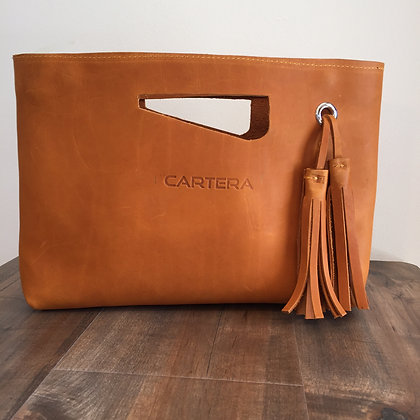 Clutch, Tan Leather (hard leather)