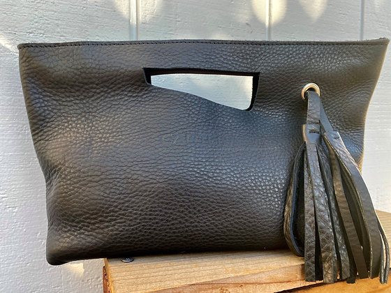 Clutch, Black (soft leather, zipper)