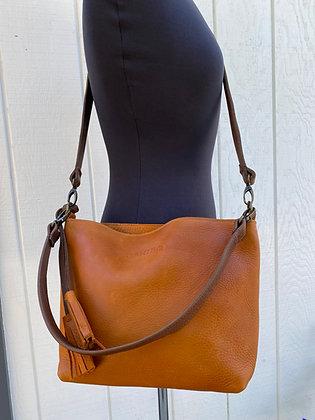 Crossbody & shoulder bag, Orange leather with 2 brown straps (zipper)