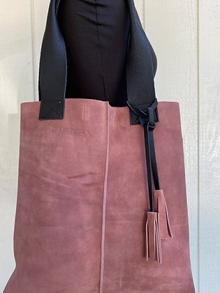 Tote, antique Pink suede with black leather straps