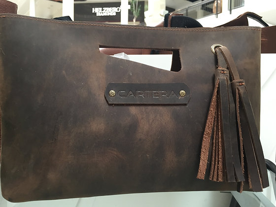 Clutch, Brown (distressed leather)