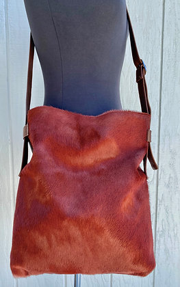 Crossbody, Brown leather with Cognac Hair on Hide
