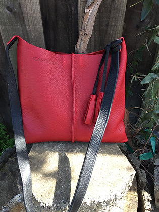 Crossbody, Red with black strap