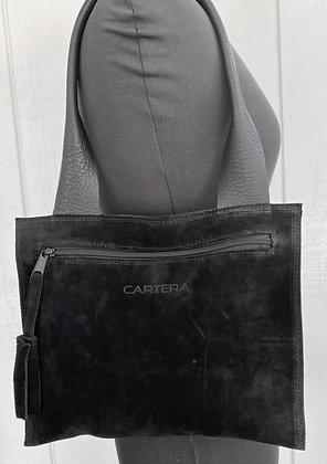 Small shoulder bag, Black suede
