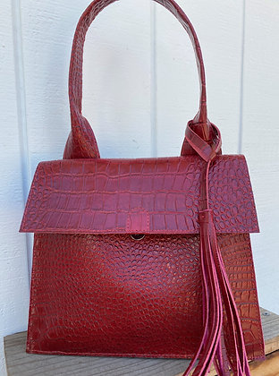 Shoulder Bag, RED leather lined with magenta suede