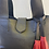 Thumbnail: Shoulder bag, black leather purse with red tassel (zipper)