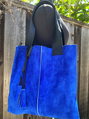 Tote, Blue cobalt suede with leather straps
