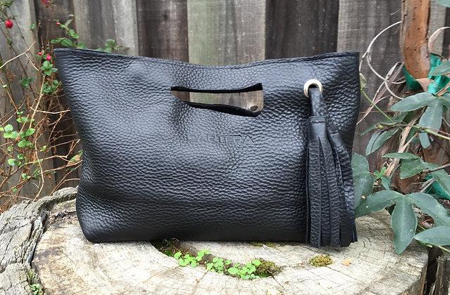 Clutch, Black (soft leather, zipper)