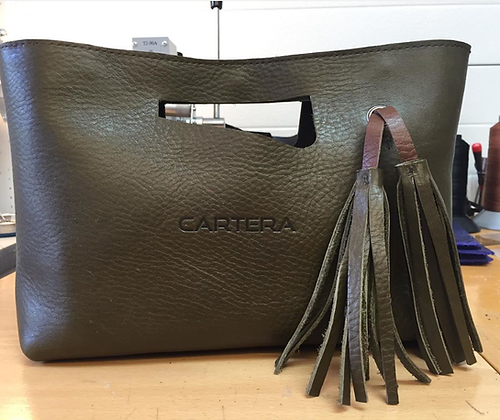 Clutch, Olive green (soft leather)