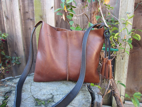 Crossbody, Brown with black strap