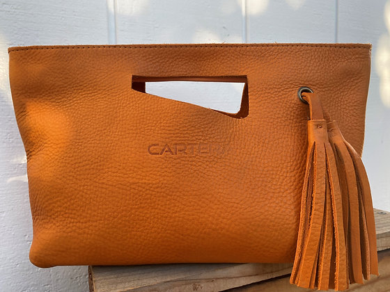 Clutch, Orange (soft leather, zipper)